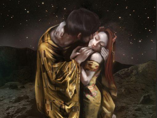 Klimt Kiss Digital Painting: Angela und Paul